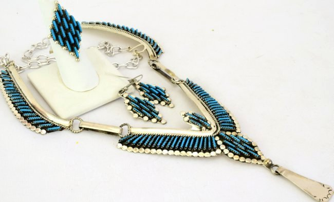 Zuni Sterling Turquoise Necklace, ER and Ring Set