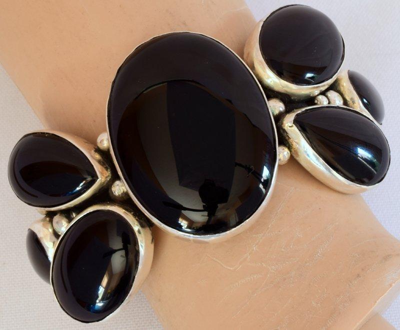 Navajo Sterling Silver Black Onyx Cuff Bracelet