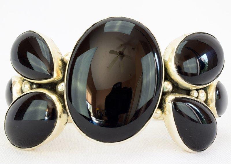 Navajo Sterling Silver Black Onyx Cuff Bracelet - 2