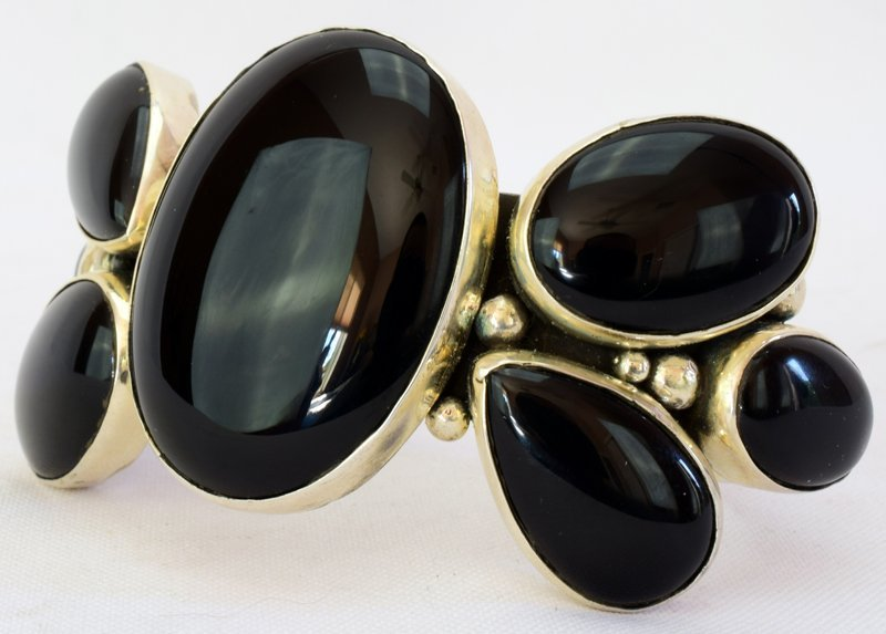 Navajo Sterling Silver Black Onyx Cuff Bracelet - 3