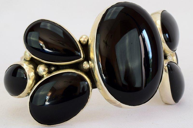 Navajo Sterling Silver Black Onyx Cuff Bracelet - 4