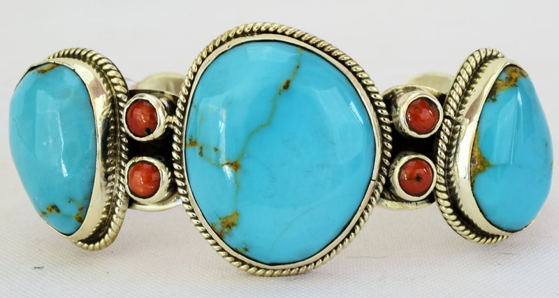 Navajo Sterling Turquoise Cuff W/Spiny Oyster Accents