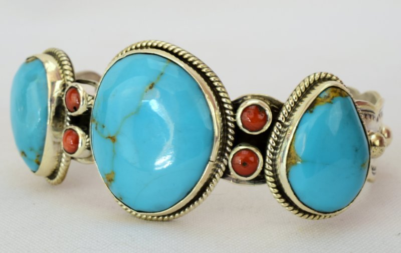 Navajo Sterling Turquoise Cuff W/Spiny Oyster Accents - 2