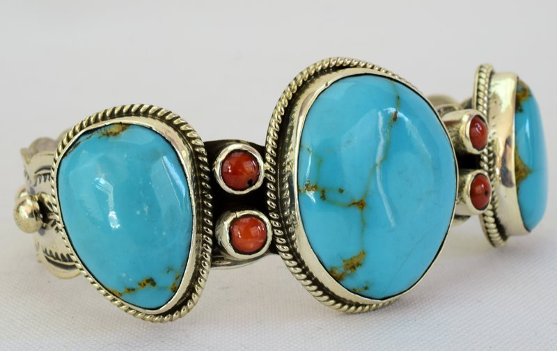 Navajo Sterling Turquoise Cuff W/Spiny Oyster Accents - 3