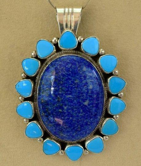 Navajo Sterling Denim Lapis and Turquoise Pendant