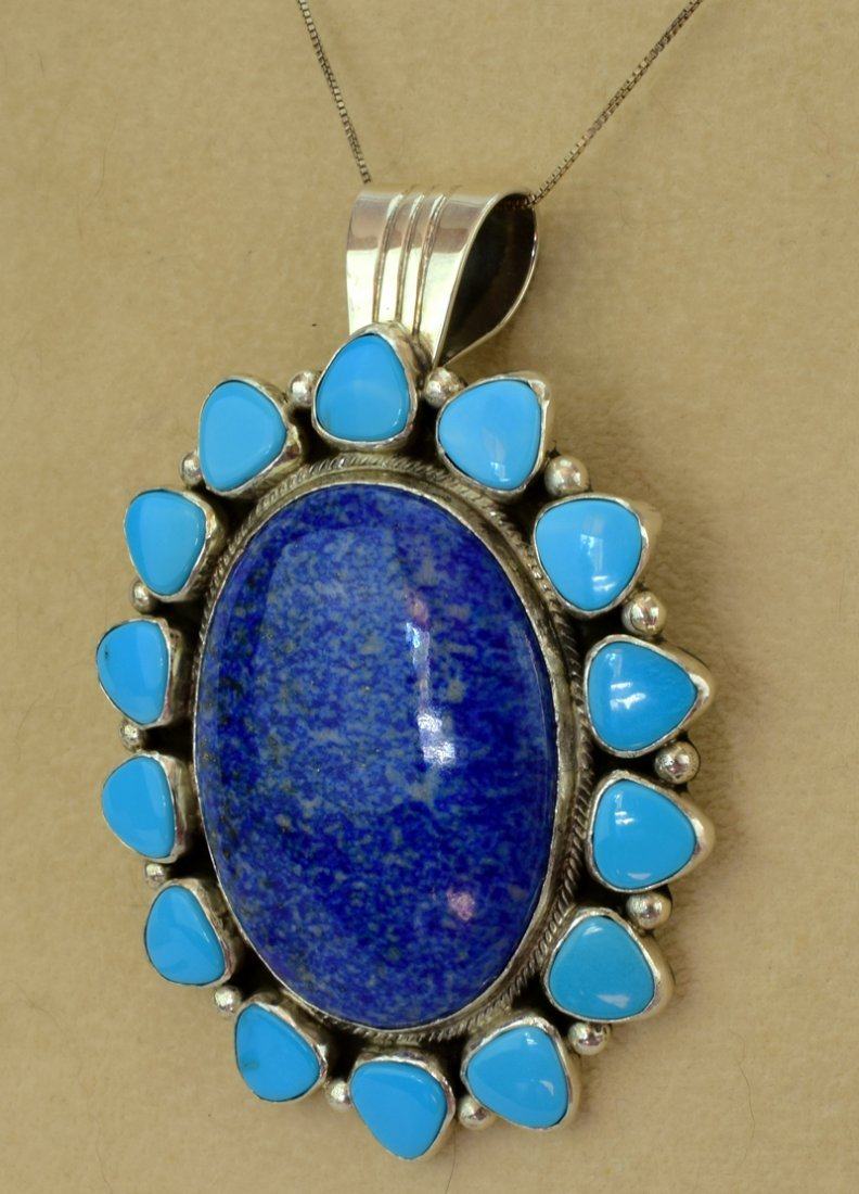 Navajo Sterling Denim Lapis and Turquoise Pendant - 2
