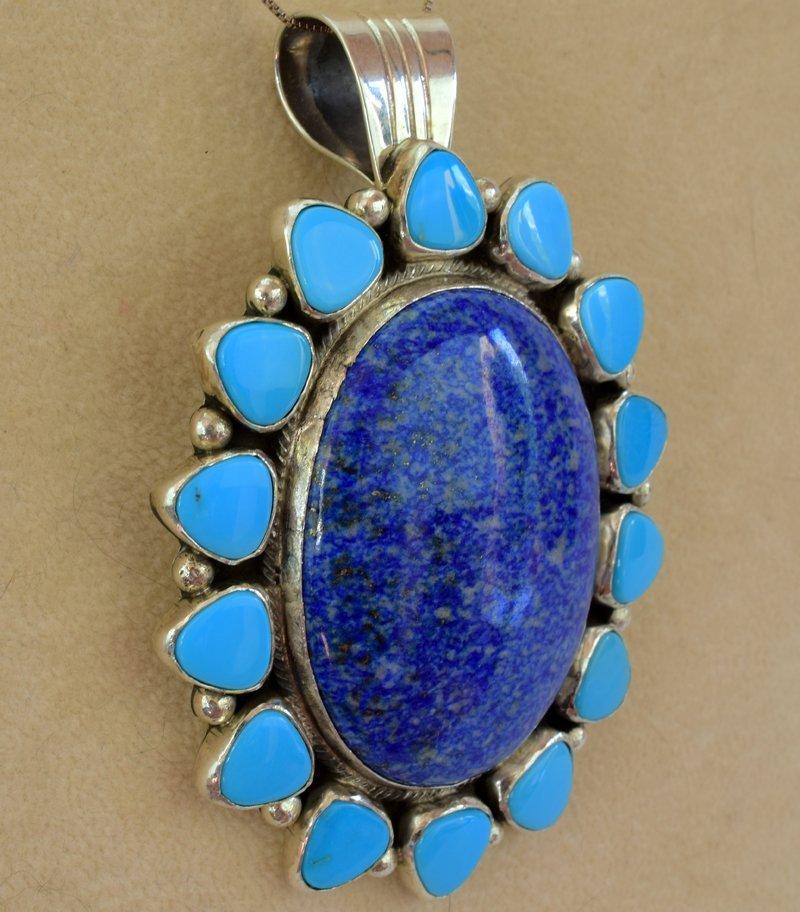 Navajo Sterling Denim Lapis and Turquoise Pendant - 3