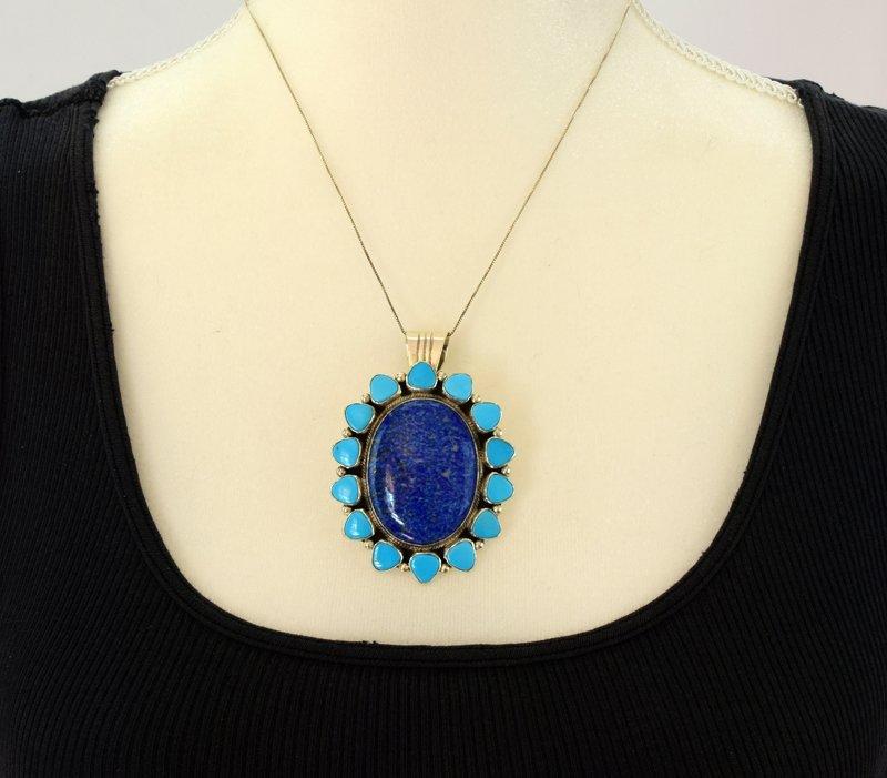 Navajo Sterling Denim Lapis and Turquoise Pendant - 4