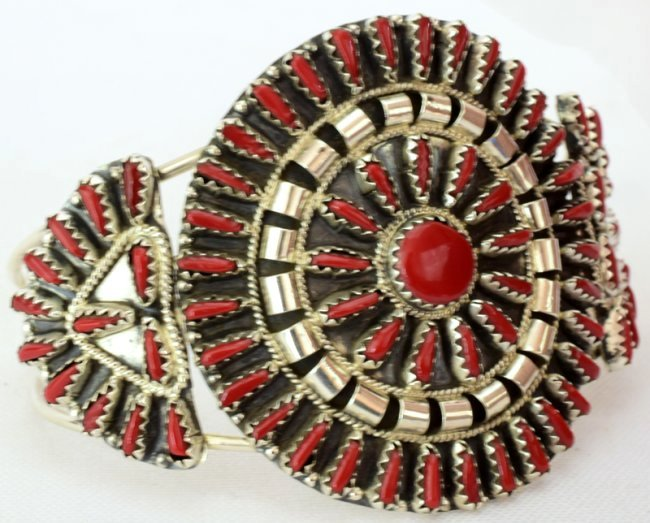Navajo Sterling Silver Coral Needlepoint Cuff Bracelet - 3