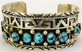 Sterling Silver Hopi Turquoise Cuff Bracelet