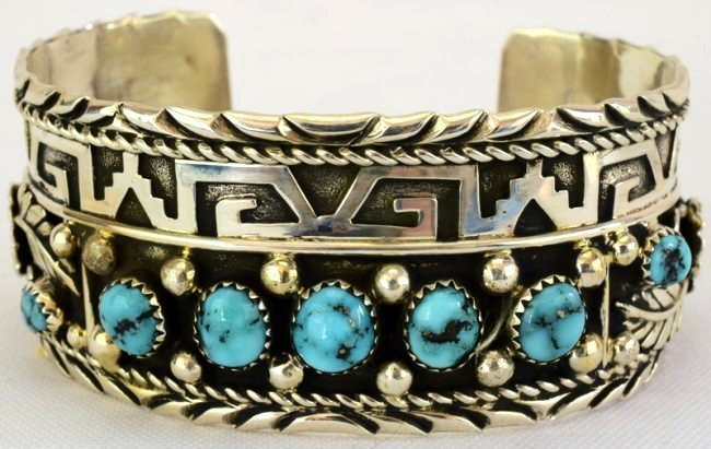 Sterling Silver Hopi Turquoise Cuff Bracelet