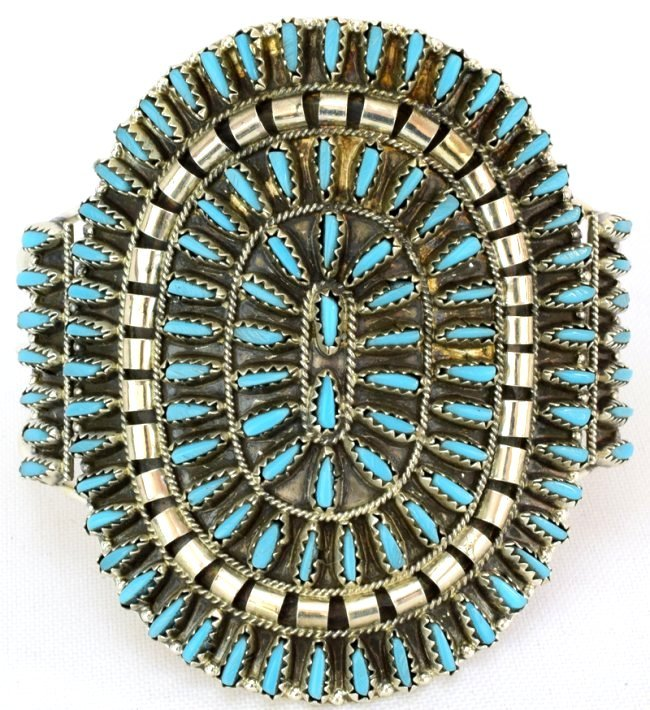 Navajo Lg. Cluster Needlepoint Sterling Turquoise Cuff