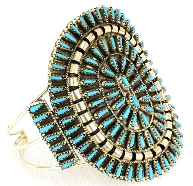 Navajo Lg. Cluster Needlepoint Sterling Turquoise Cuff - 2