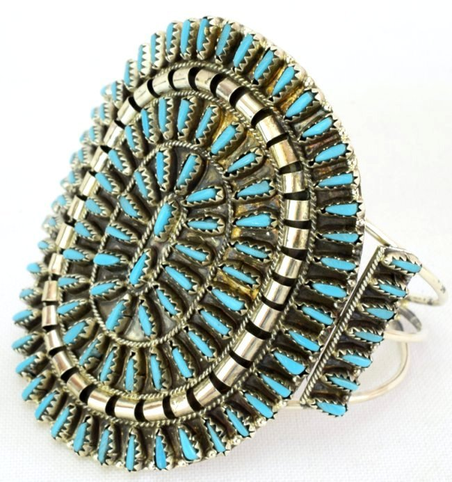 Navajo Lg. Cluster Needlepoint Sterling Turquoise Cuff - 3