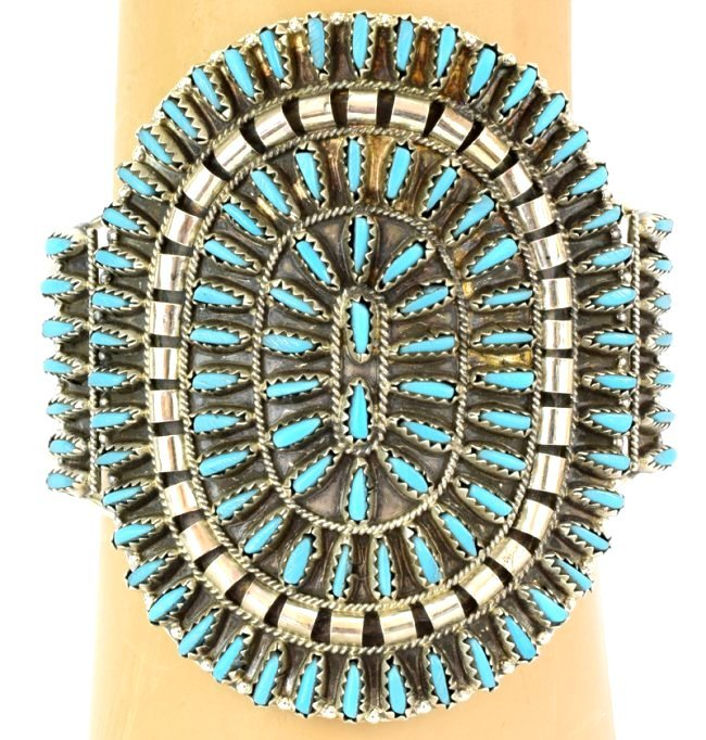 Navajo Lg. Cluster Needlepoint Sterling Turquoise Cuff - 4