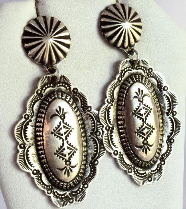 Navajo Sterling Repousse Earrings - V. Platero
