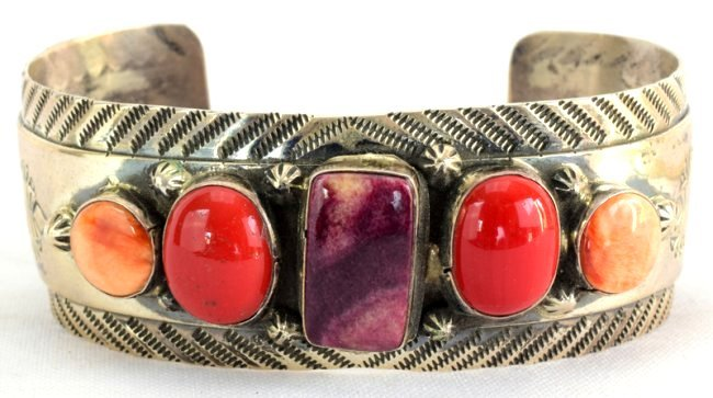 Old Pawn Navajo Spiny Oyster & Coral Cuff Bracelet