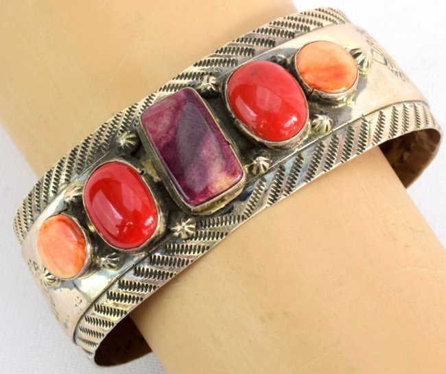 Old Pawn Navajo Spiny Oyster & Coral Cuff Bracelet - 2