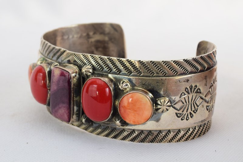Old Pawn Navajo Spiny Oyster & Coral Cuff Bracelet - 3