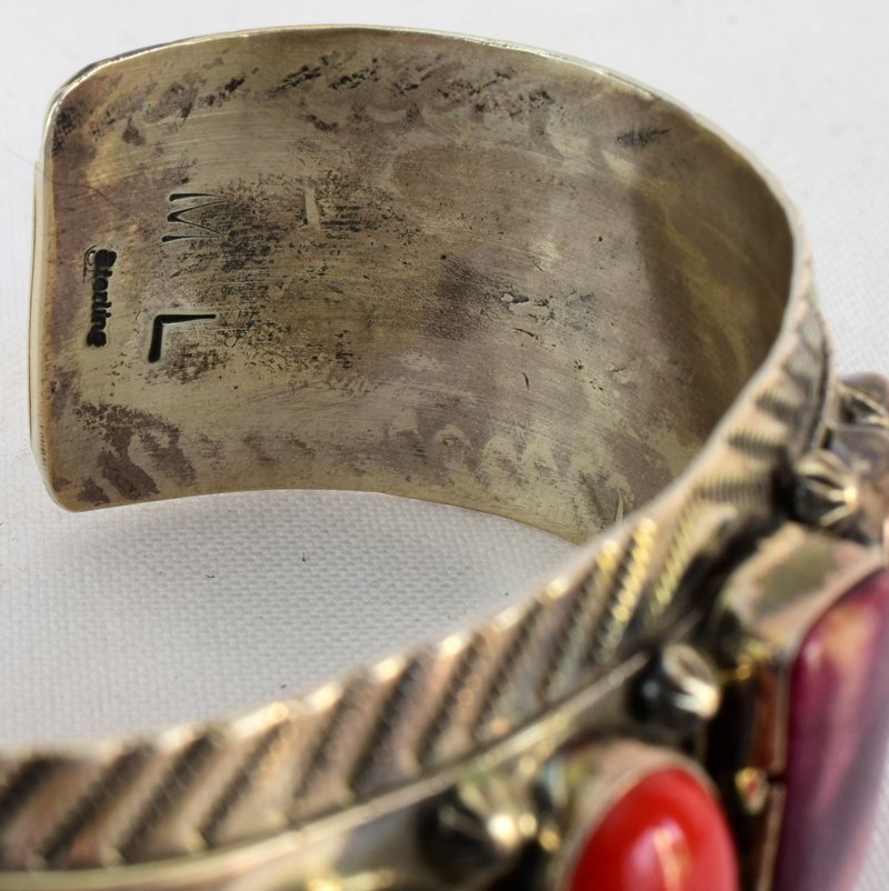 Old Pawn Navajo Spiny Oyster & Coral Cuff Bracelet - 4