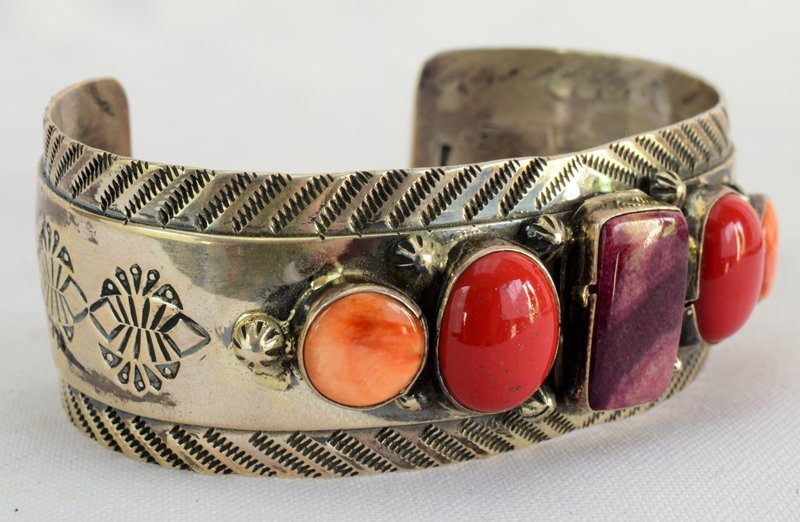 Old Pawn Navajo Spiny Oyster & Coral Cuff Bracelet - 5