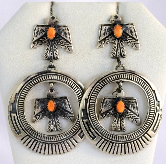 Native American Thunderbird Earrings w/Spiny Oyster