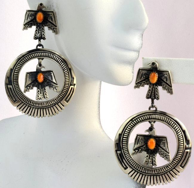 Native American Thunderbird Earrings w/Spiny Oyster - 2