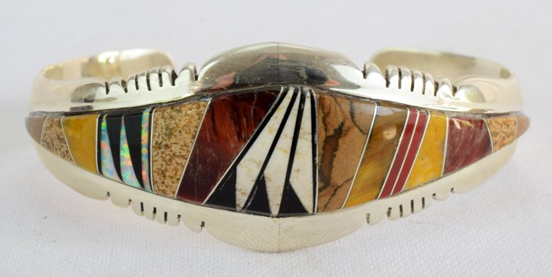 Native American Sterling Multi Stone Inlay Bracelet