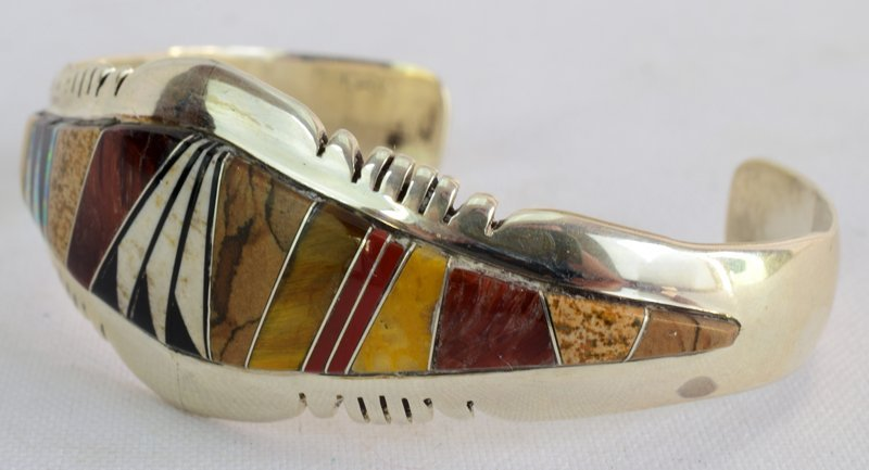 Native American Sterling Multi Stone Inlay Bracelet - 2