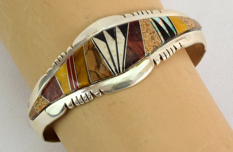 Native American Sterling Multi Stone Inlay Bracelet - 5
