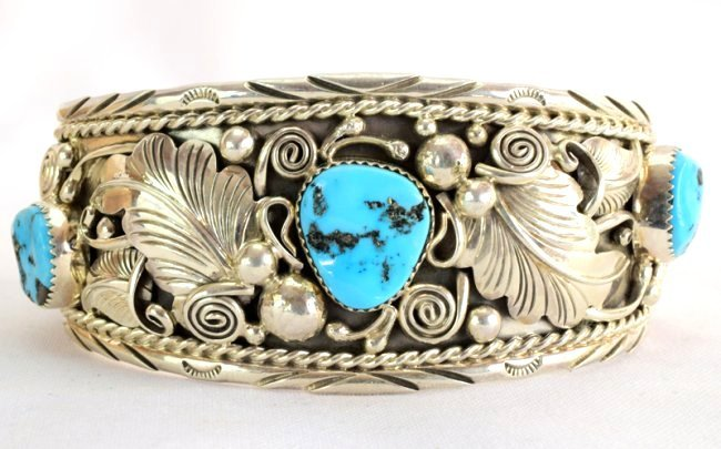 Navajo Big Men's Turquoise Sterling Cuff Bracelet
