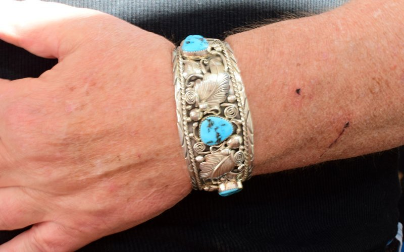 Navajo Big Men's Turquoise Sterling Cuff Bracelet - 2