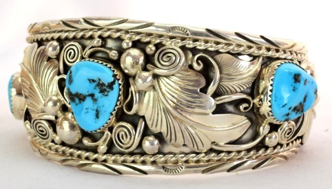 Navajo Big Men's Turquoise Sterling Cuff Bracelet - 3