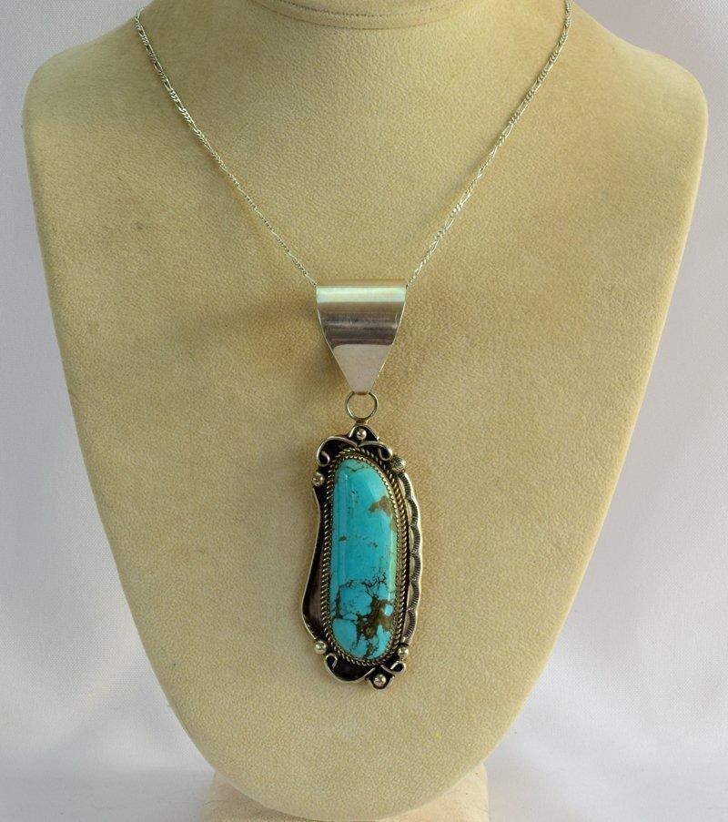 Navajo Sterling Silver Kingman Turquoise Pendant - 2