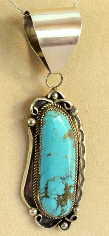 Navajo Sterling Silver Kingman Turquoise Pendant - 3