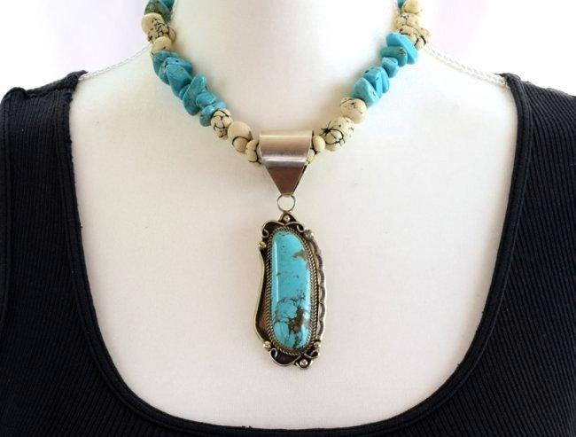Navajo Sterling Silver Kingman Turquoise Pendant - 4