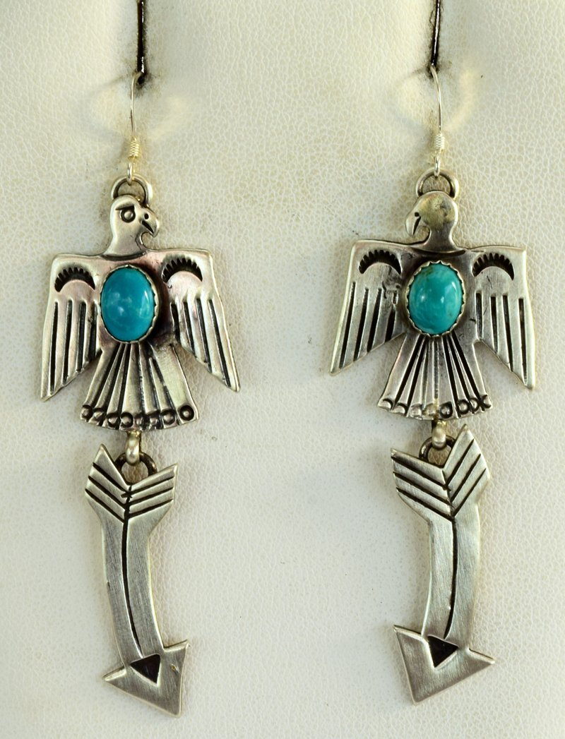 Navajo Sterling Silver Thunderbird Earrings w/Turq.