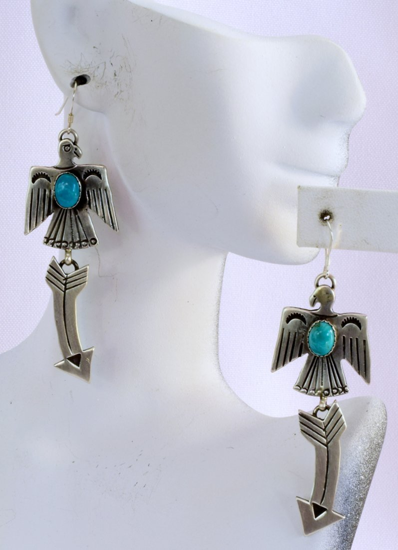 Navajo Sterling Silver Thunderbird Earrings w/Turq. - 4