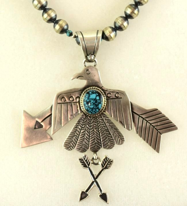 Navajo Sterling Thunderbird Necklace w/Turquoise