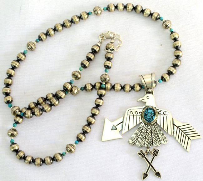 Navajo Sterling Thunderbird Necklace w/Turquoise - 2
