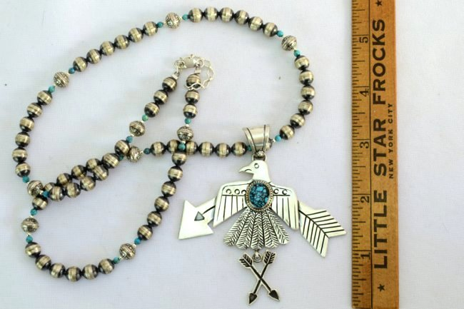 Navajo Sterling Thunderbird Necklace w/Turquoise - 3