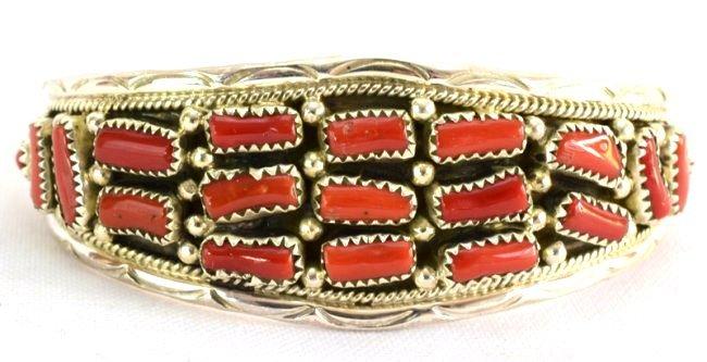 Native American Sterling Silver Coral Nugget Cuff