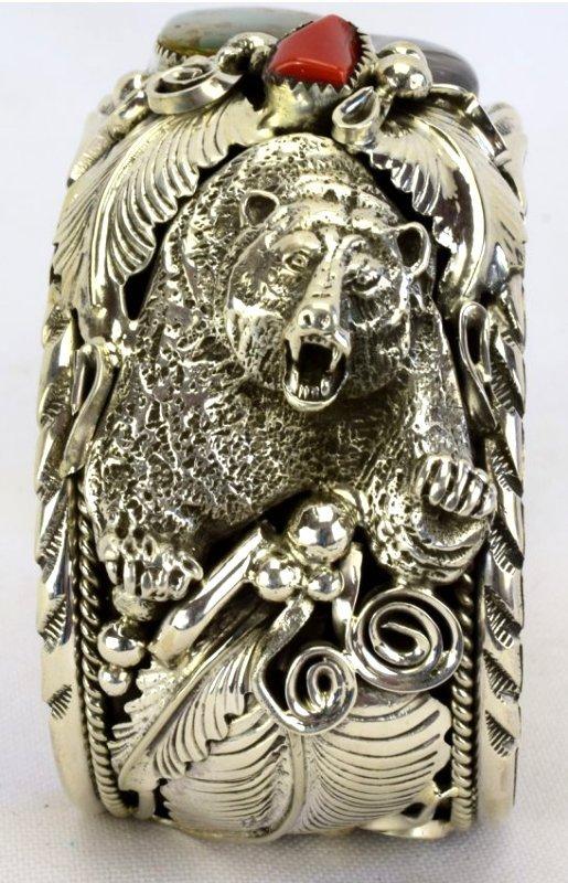 Navajo Sterling Silver Bear Claw, Bear Head Bracelet