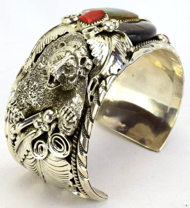 Navajo Sterling Silver Bear Claw, Bear Head Bracelet - 2
