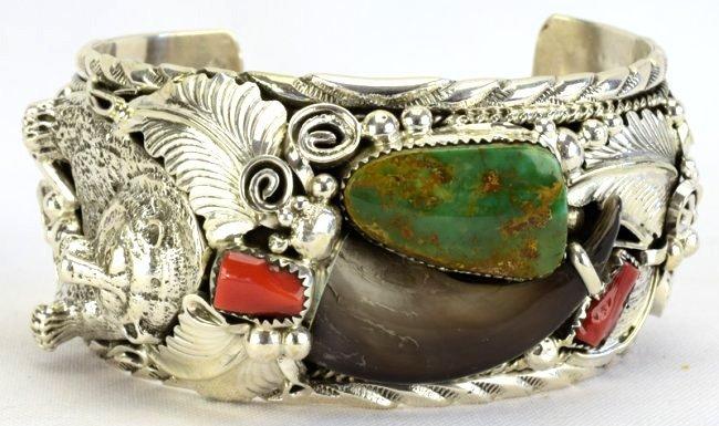Navajo Sterling Silver Bear Claw, Bear Head Bracelet - 3