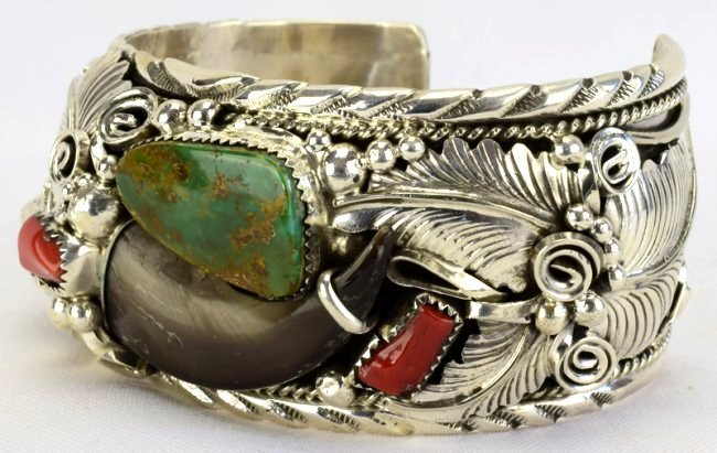 Navajo Sterling Silver Bear Claw, Bear Head Bracelet - 4