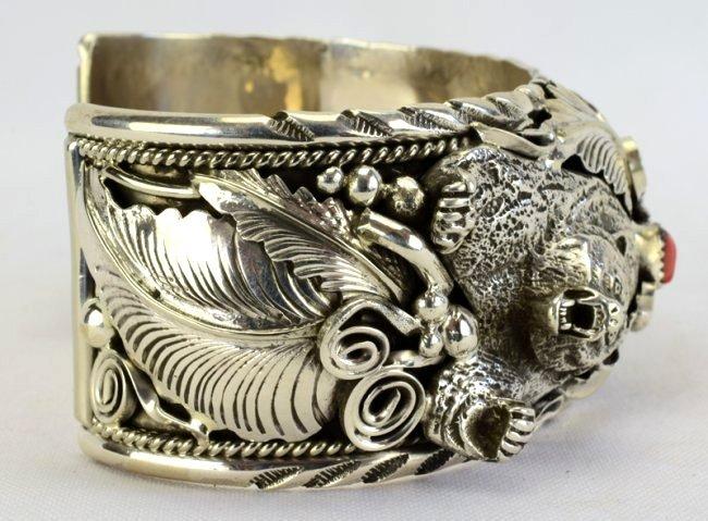 Navajo Sterling Silver Bear Claw, Bear Head Bracelet - 5
