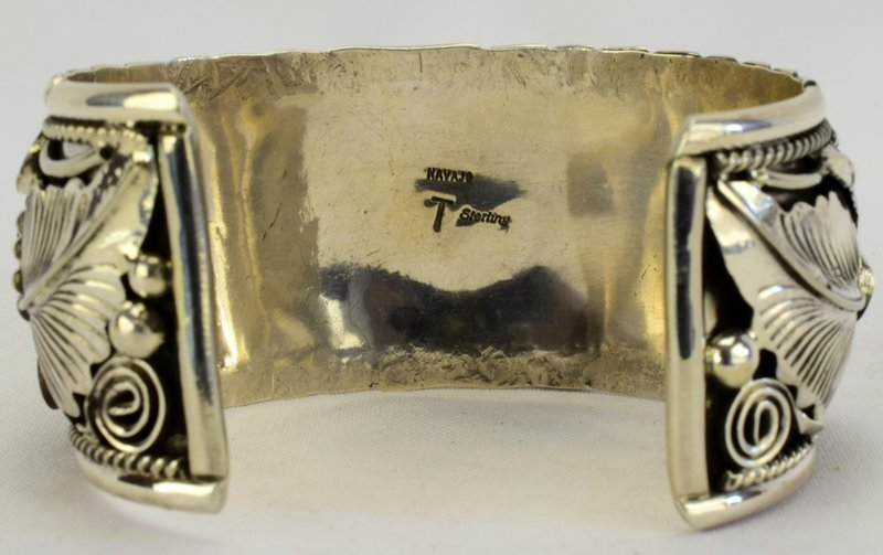 Navajo Sterling Silver Bear Claw, Bear Head Bracelet - 6