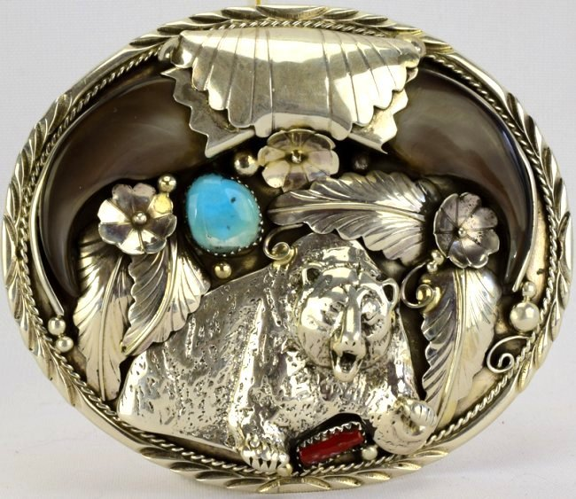 Navajo Sterling Large Double Bear Claw Belt Buckle