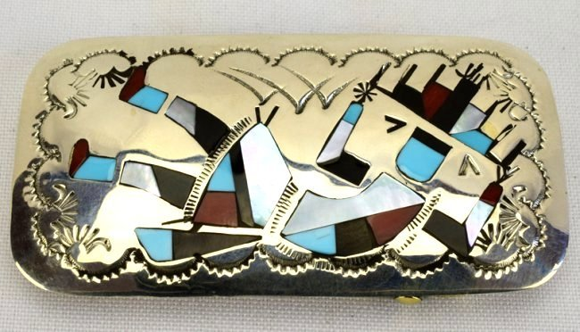 Native American Zuni Sterling Silver Inlay Belt Buckle